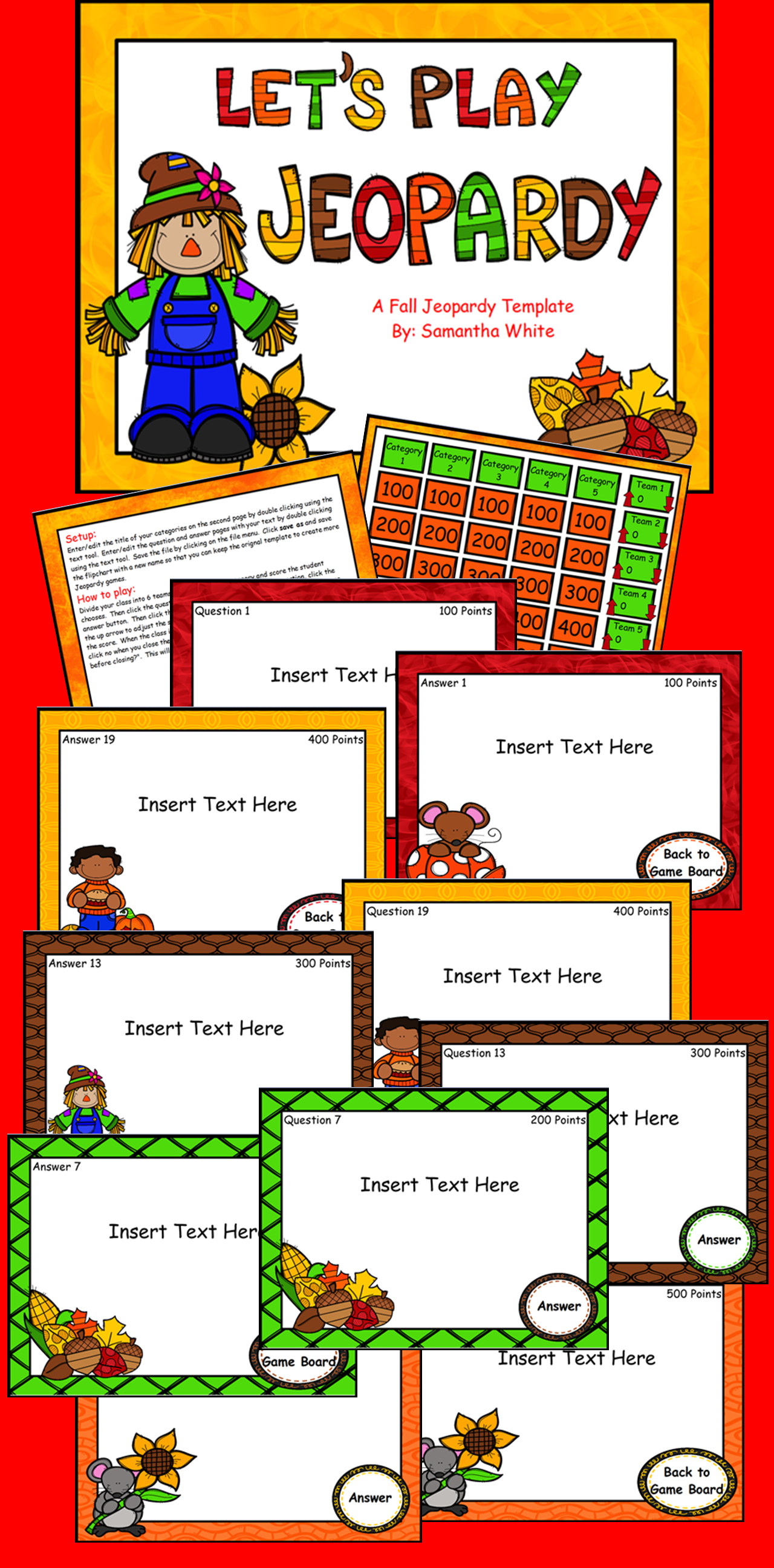 Fall Jeopardy Template Activinspire Flipchart  Game Boards