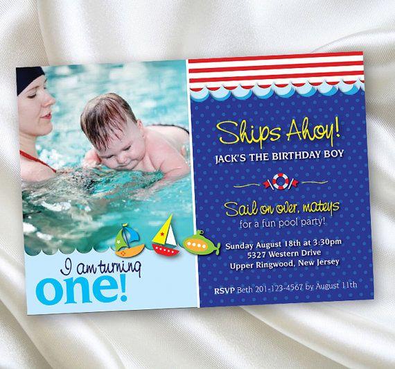 1st Birthday Invitations Boy First Pool By EdgeeInvites