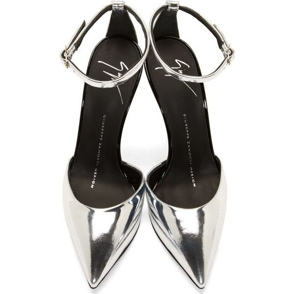 Giuseppe Zanotti Silver Mirrored Leather Yvette Stiletto Shoes ($605) ❤ liked on Polyvore featuring shoes, pumps, heels, high heel pumps, black ankle strap pumps, silver heel pumps, black high heel pumps and black heel pumps