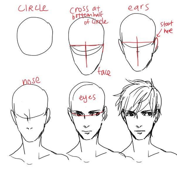 Male anime, manga style drawing guide, tutorial