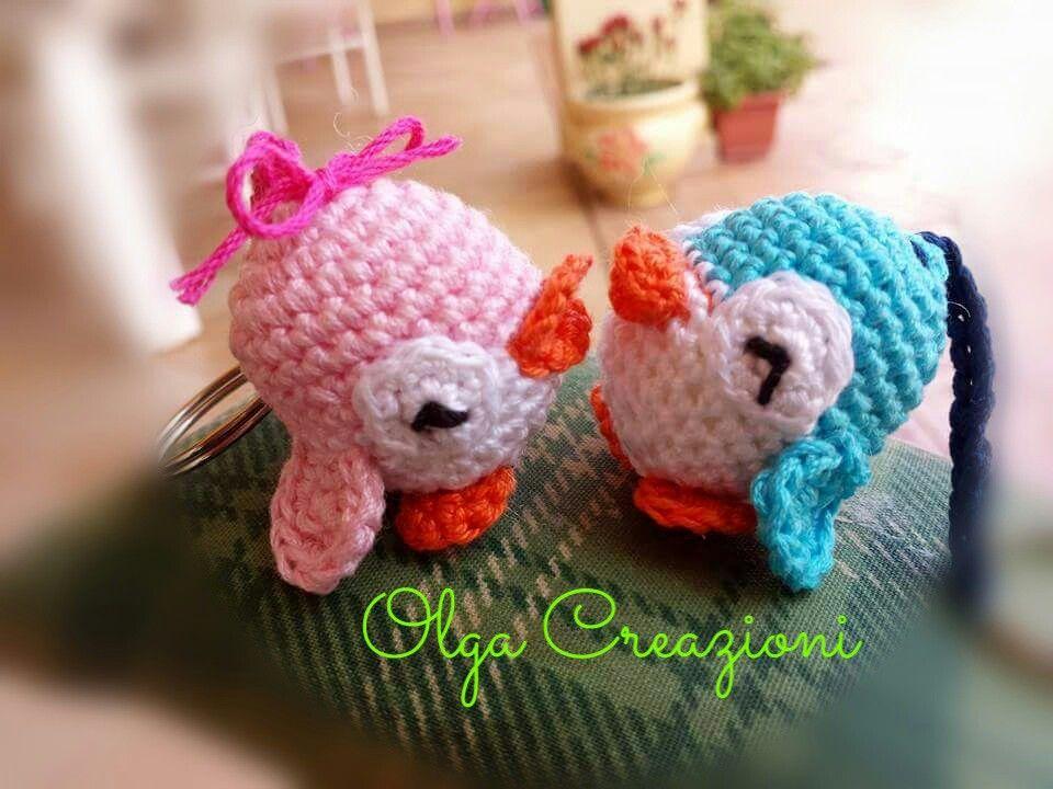 Pinguini #crochet #portachiavi #amigurumi