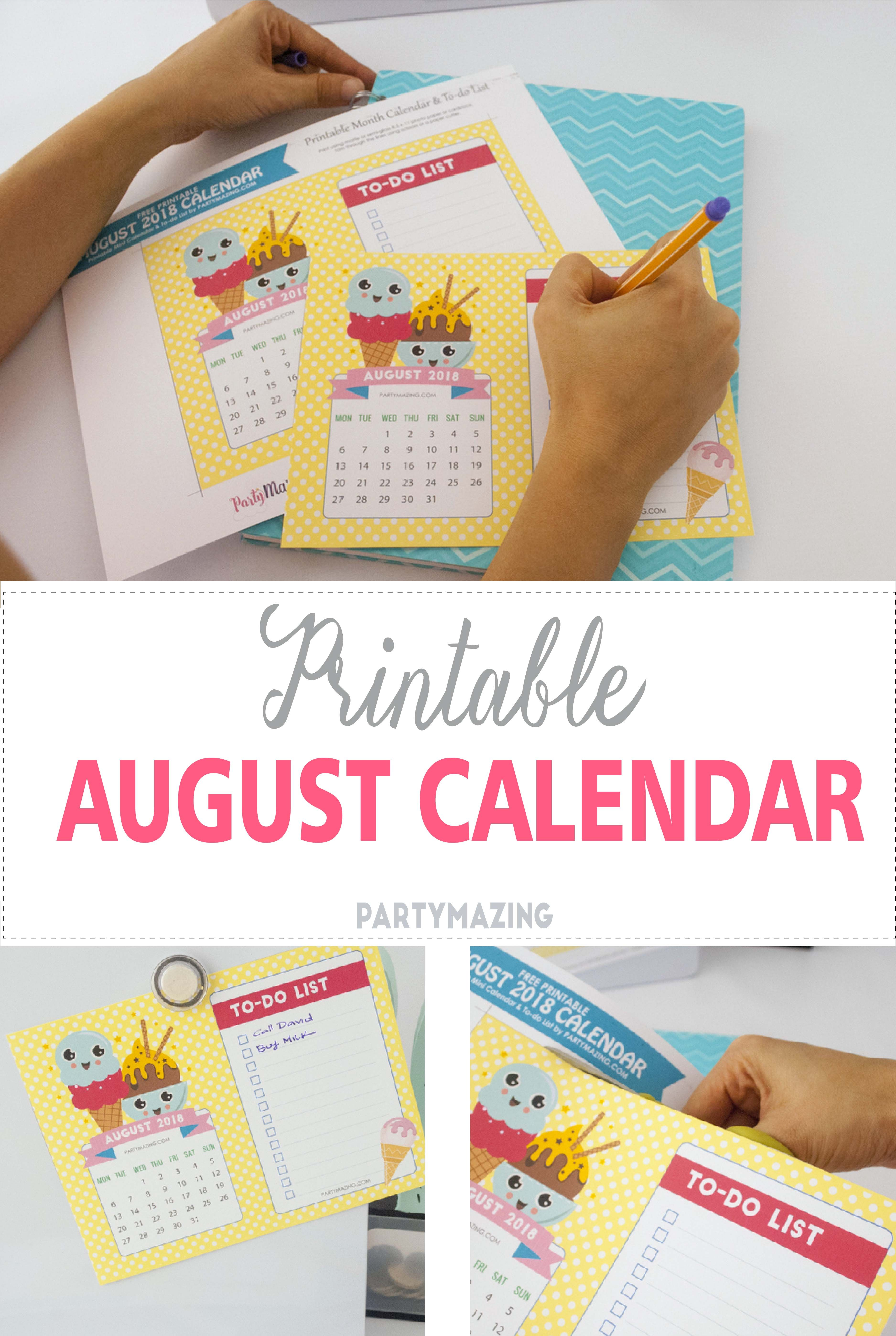 Free Printable August Calendar 2018 Awesome Party Ideas