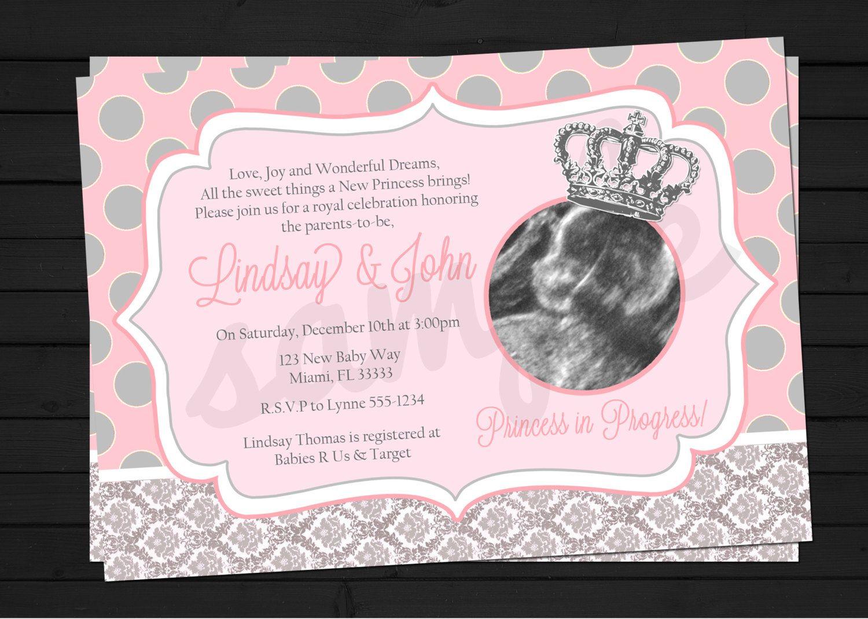 little princess in progress baby shower invitation digital file, Baby shower invitations