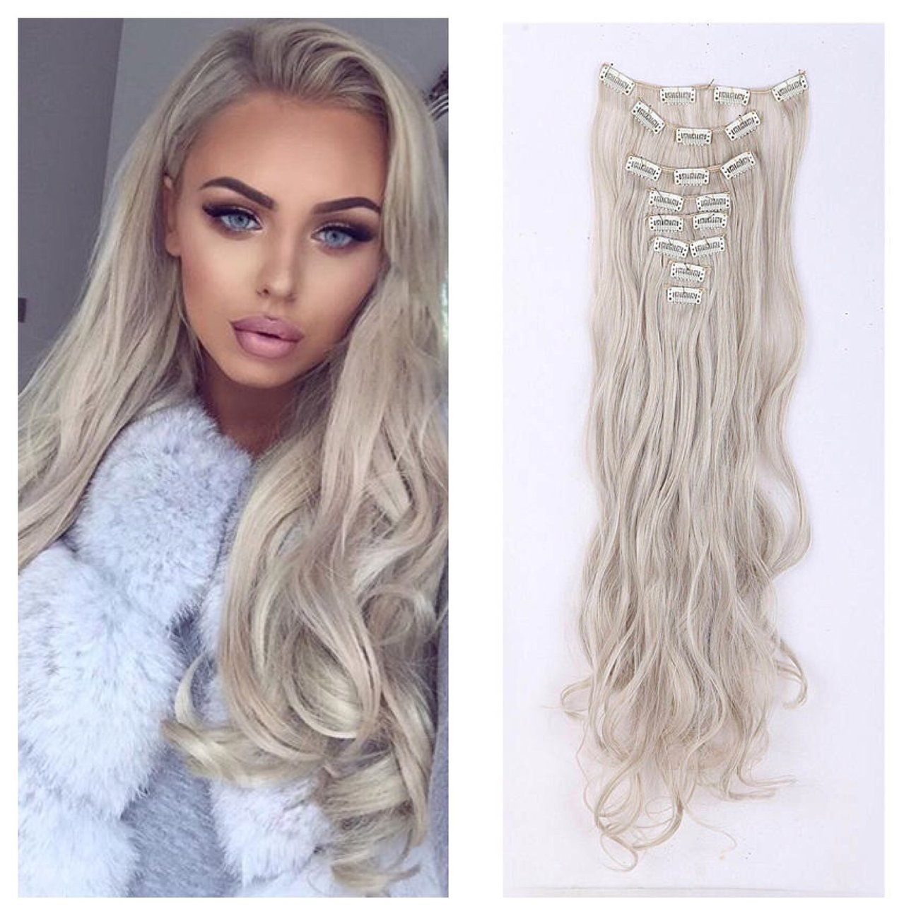 Icy Blonde Clip In Hair Extensions 24 Curly Remy Human Hair 165g