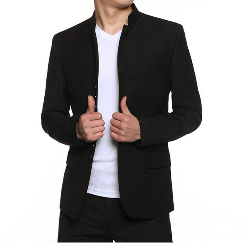 2016 Mandarin Collar Suits Blazer Men Preto tradicional túnica chinesa gola  Masculino Slim Fit 4XL Veste traje Homme Jacket 74f4006573bee