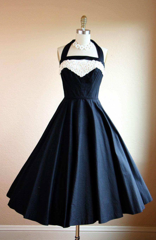 1950s Dress Vintage 50s Dress Black White Halter by jumblelaya