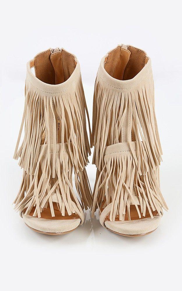 Shoe Republic LA Faux Suede Fringe Heels Nude 5.5
