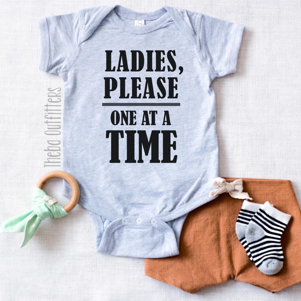 Best Funny Babies 'Ladies Please One at a Time' Onesie Stylish and funny baby boy clothing for your little cool dude! Check out our website at www.thebaoutfitters.com for more ideas. Many of our products offer multiple customizations so feel free to message us with your creative and funny ideas. #funny #ladiesman 1