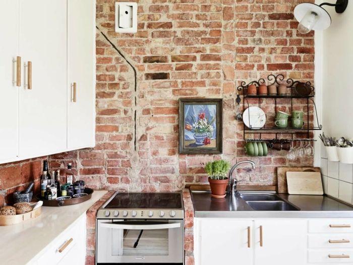 moderne küchen gemütliche küche in weiß mit ziegelwand Farben - küche welche farbe