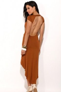 caramel brown fitted backless high low dress