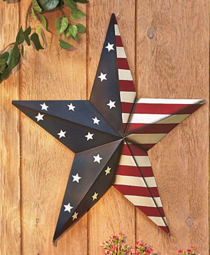 Large Metal Star Inside Outside Stake Or Hang Patriotic Rustic Country Art Decor Barn Star Decor Flag Decor Star Decorations