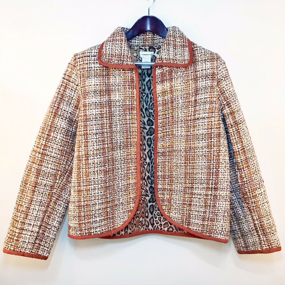 Austin Reed Womens Blazer Jacket Coat Silk Tweed Brown Tan Sz Large J99 Ebay Silk Tweed Women S Blazer Suits For Women