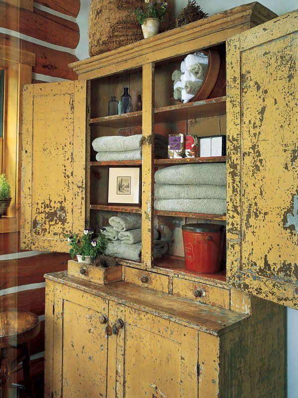 Old yellow cupboard farmhouse cottage vintage - Schrank inneneinrichtung ...