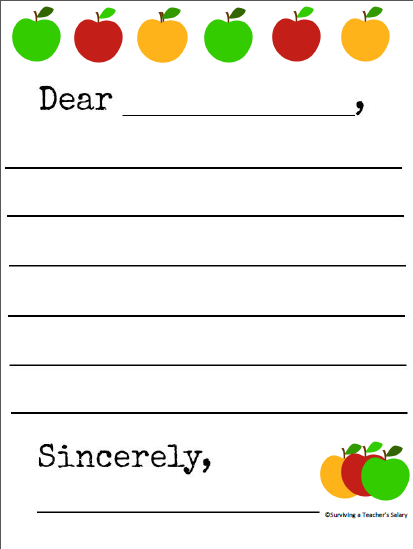 free printable apple themed letter writing template