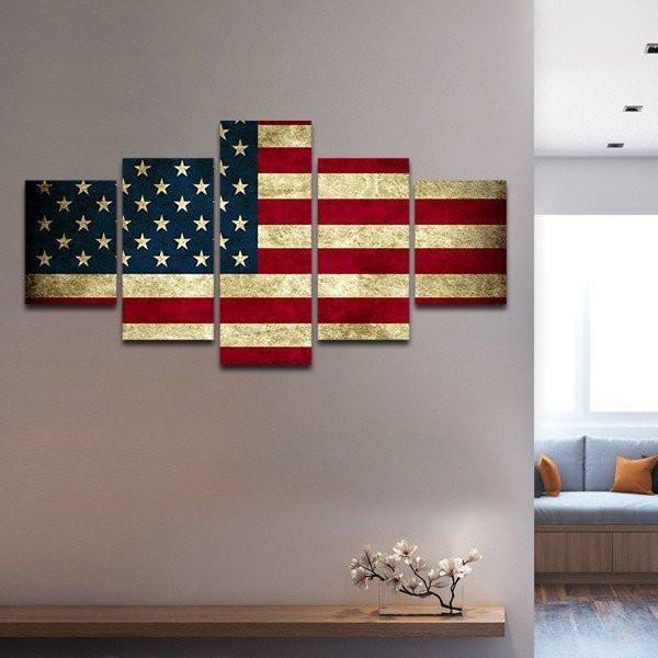 Rustic Patriotic American US Flag Multi Panel Canvas Wall Art