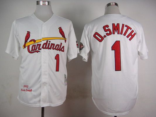 finest selection f36f1 368d1 Men's St. Louis Cardinals #1 Ozzie Smith 1992 White Mitchell ...