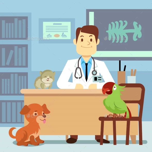Veterinary Office With Doctor And Pets Dia Do Veterinario Animais De Estimacao Veterinario