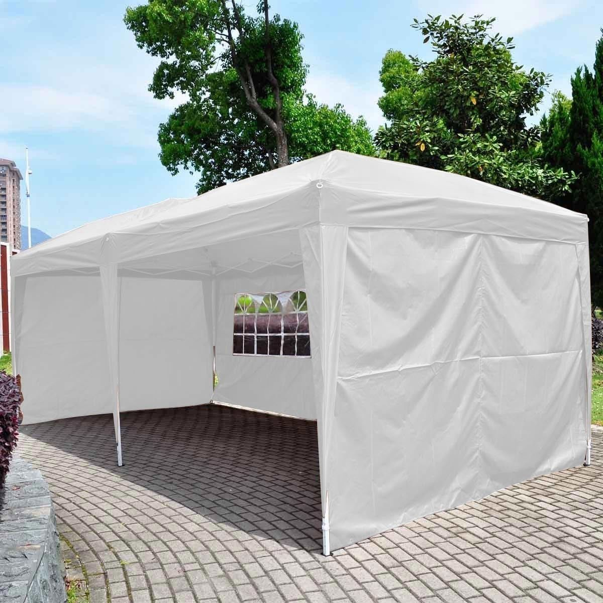 Giantex 10 X20 Ez Pop Up Wedding Party Tent Folding Gazebo Beach Canopy W Carry Bag White Beach Canopy Gazebo Party Tent
