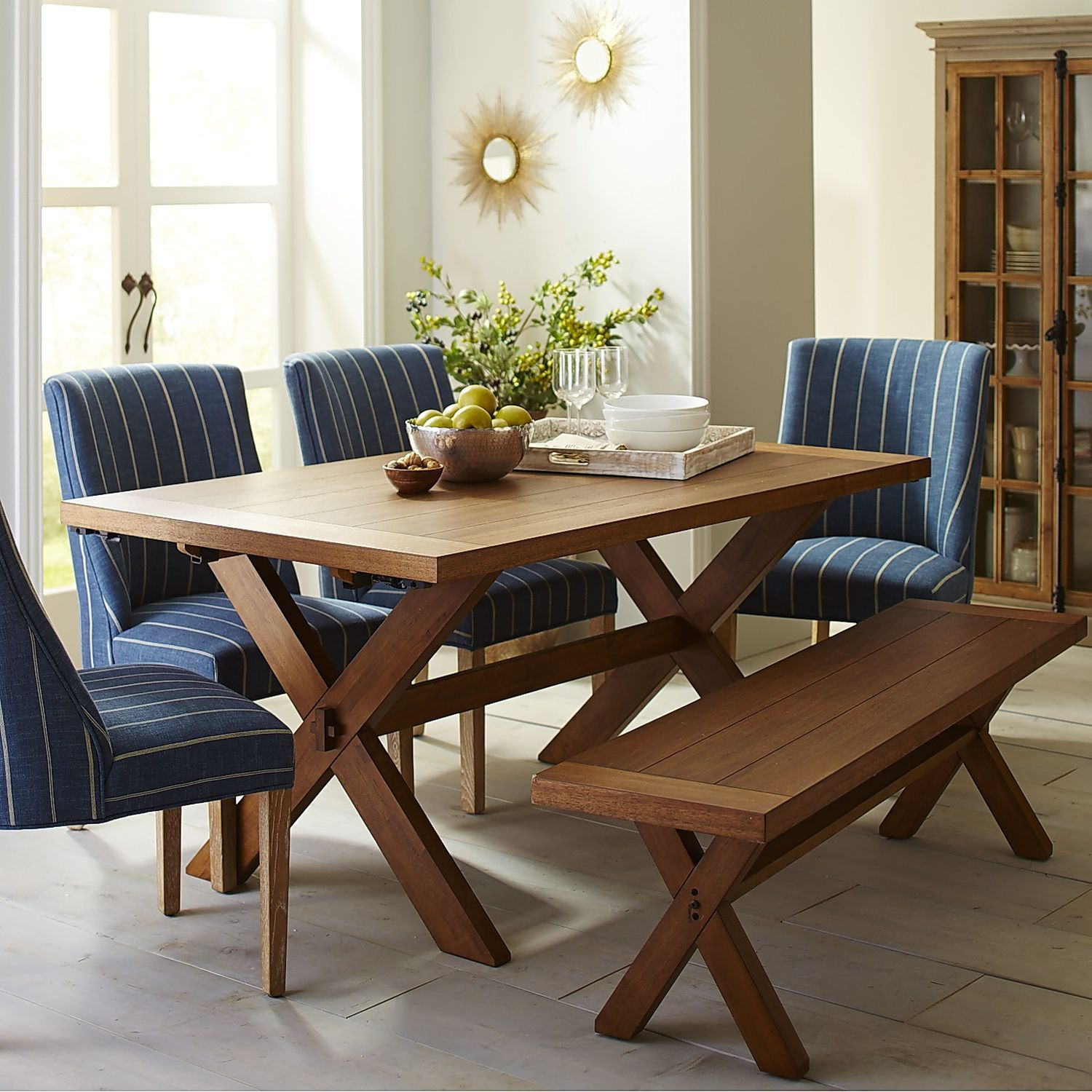 Extension Dining Room Tables: Nolan Extension Java Trestle Table