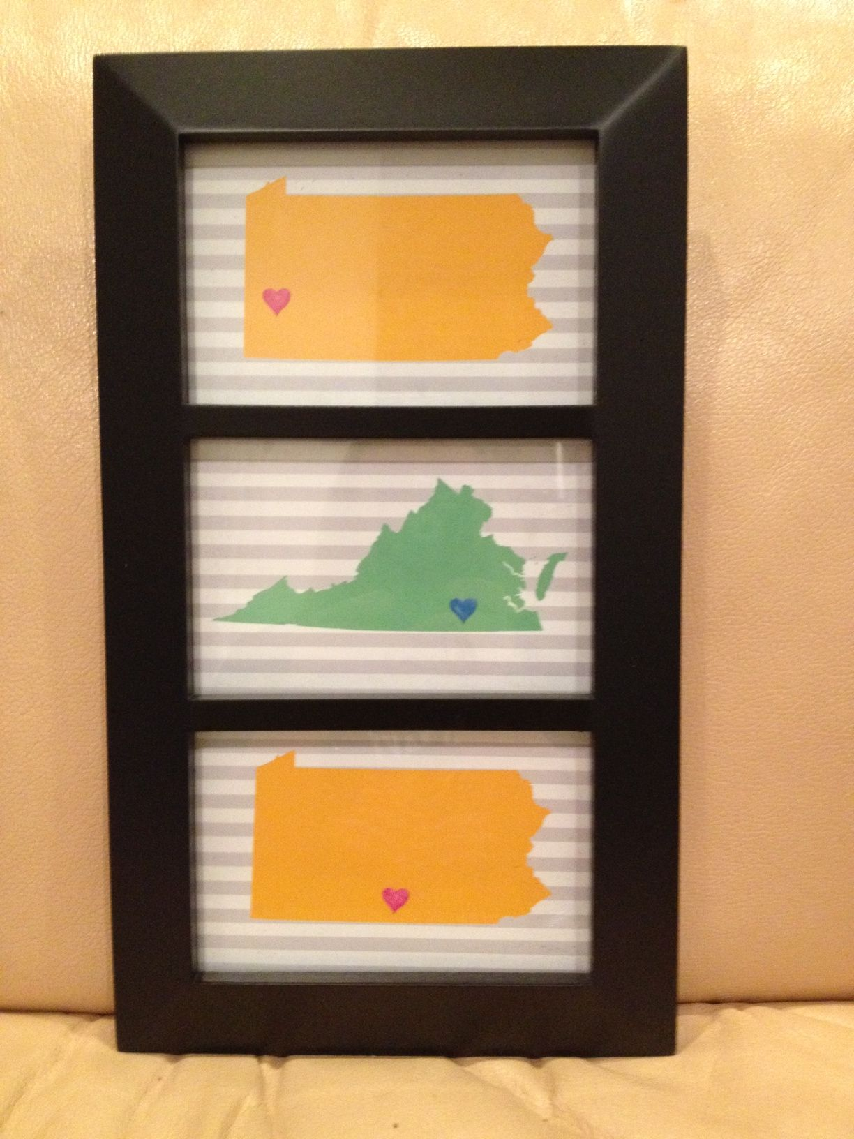 Great Mother's Day DIY-frame of states where children live after leaving the nest hoybycrafts.blogspot.com #states #frame #gift #mothers #day