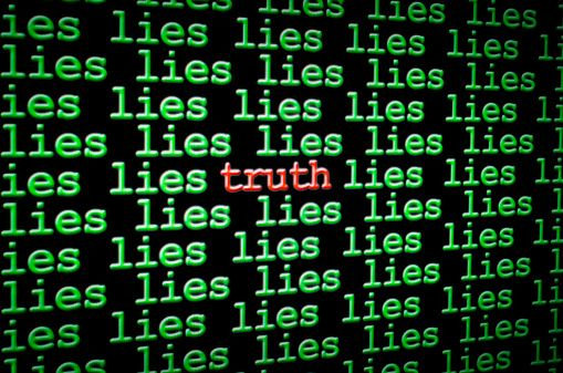 Finding truth amongst the lies stock photo