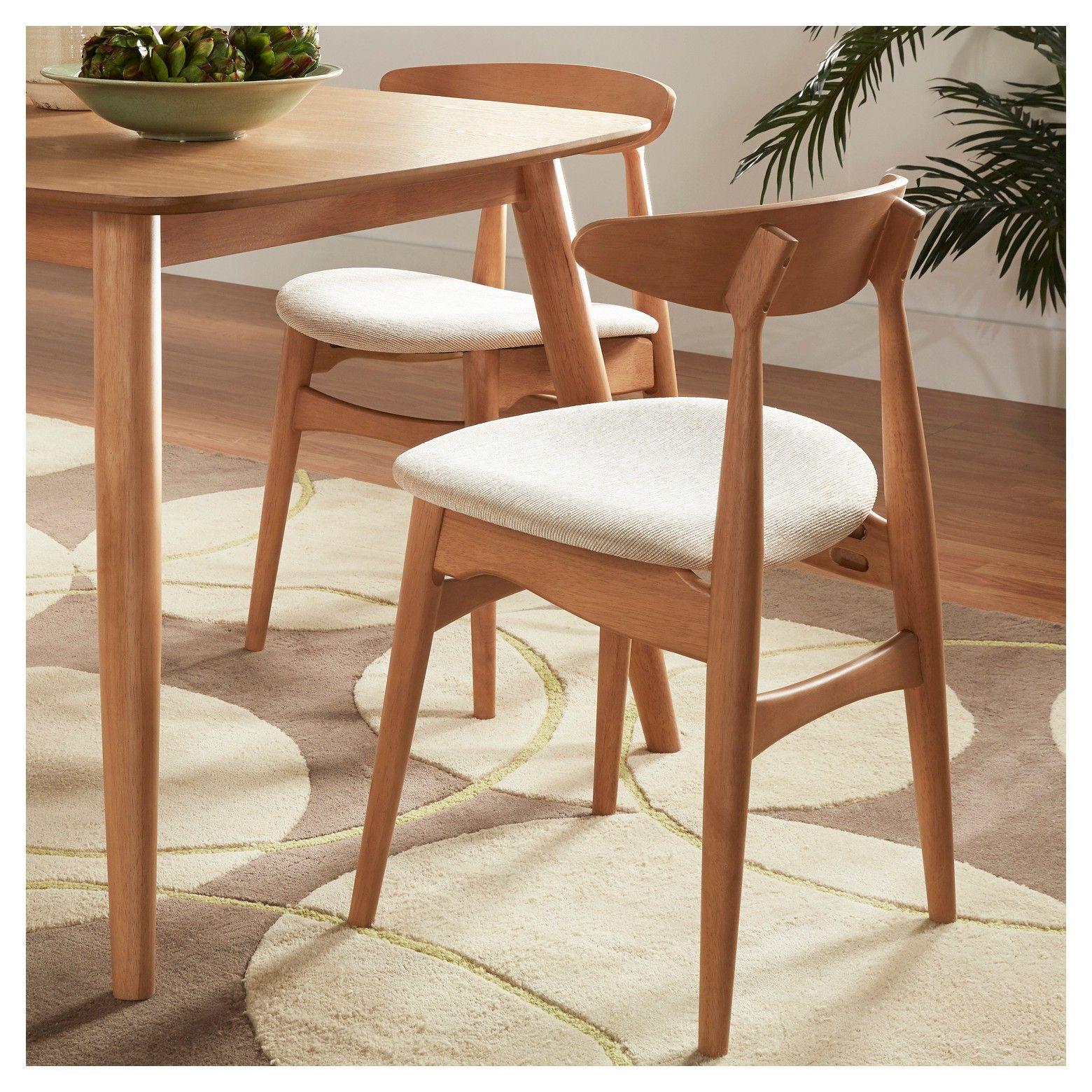 Set Of 2 Cortland Danish Modern Natural Dining Chair Natural Beige