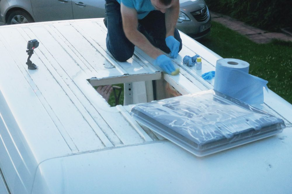 Van Conversion Installing A Fiamma Roof Vent Adventures In A Camper Roof Vents Roof Installation