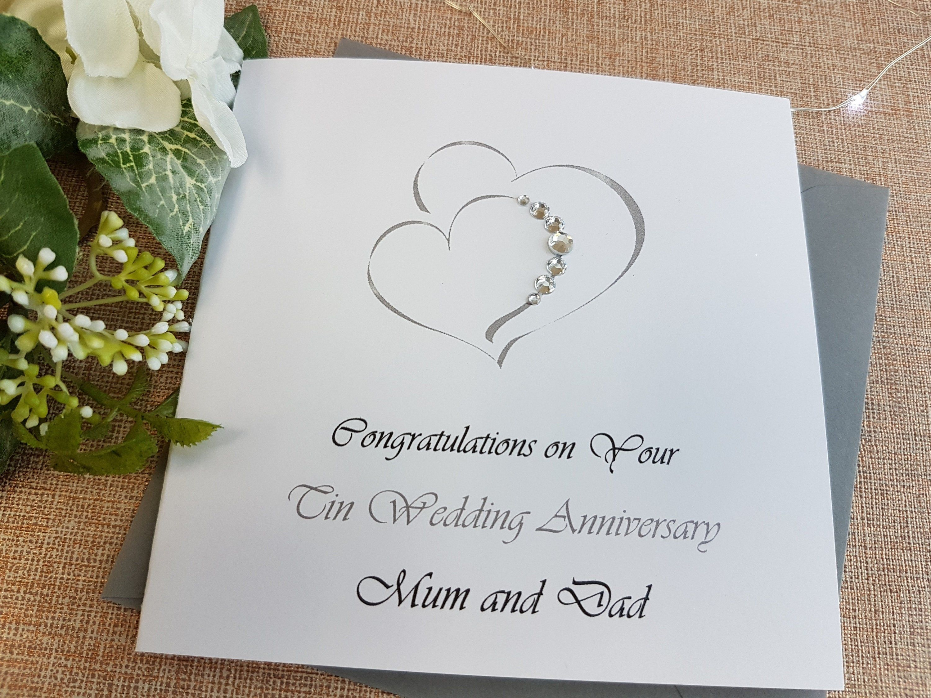 Personalised with names and date Tin Aluminium 10th 10 years Wedding Anniversary Card