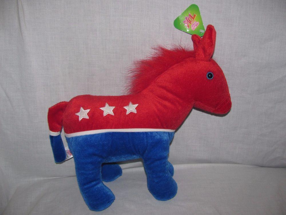 NEW Sugar Loaf Plush Donkey Democrat American Red White Blue Stars Patriotic #SugarLoaf