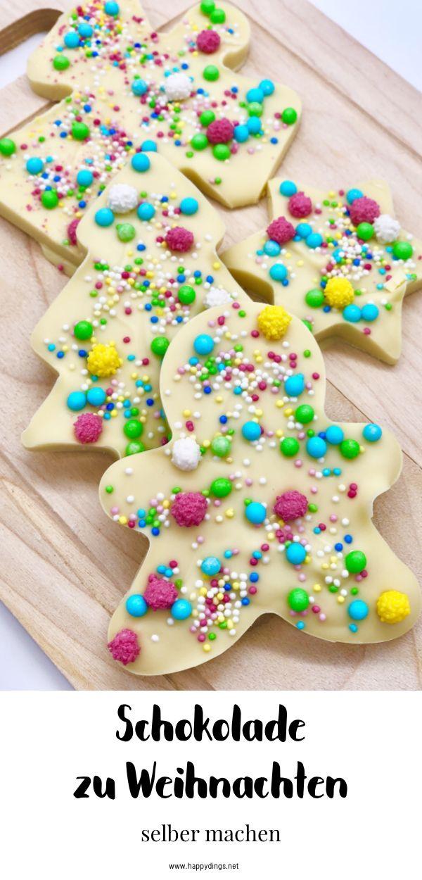 Schokolade selber machen und verzieren. Süße Weihnachtsgeschenke selber machen. Schokolade schmelzen im Thermomix oder Wasserbad. Mit diesem einfachen Thermomix Rezept gelingt Euch das Schokolade schmelzen ganz einfach. Schöne DIY Geschenk Idee für Weihnachten. #geschenkebastelnmitkindernweihnachten
