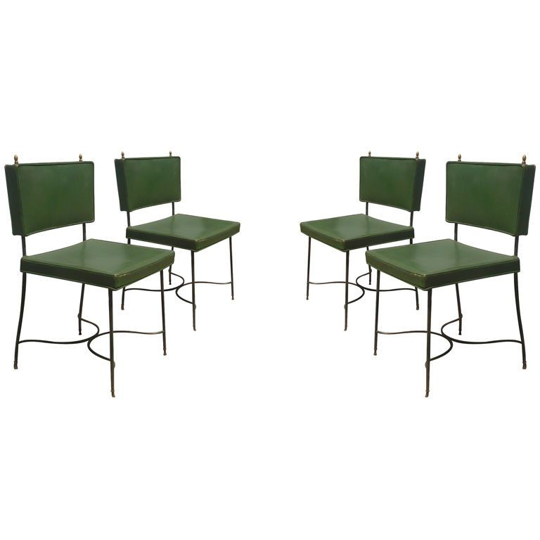 Set Of Four Green Leather And Wrought Iron Chairsmaison Jansen Brilliant Green Leather Dining Room Chairs Inspiration