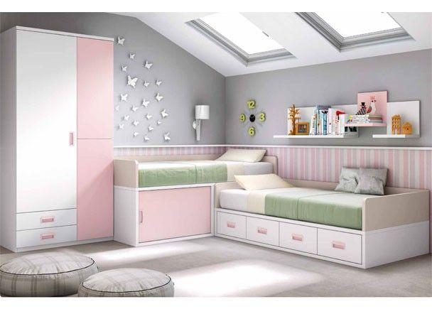 Habitaci n infantil con dos camas en blanco y rosa - Habitacion con dos camas ...