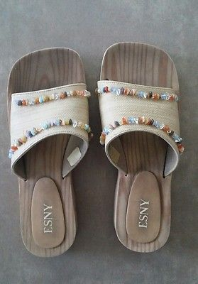 da8237dec ESNY Beige Slide Sandals Clog Platform Flip Flop Shoe Beaded Women s Size 8  9