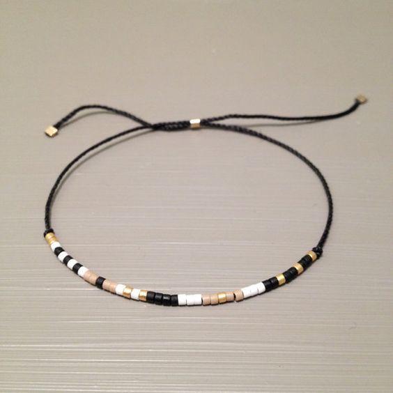 Photo of Tiny delicate bracelet Layering beaded thread bracelet string bracelet