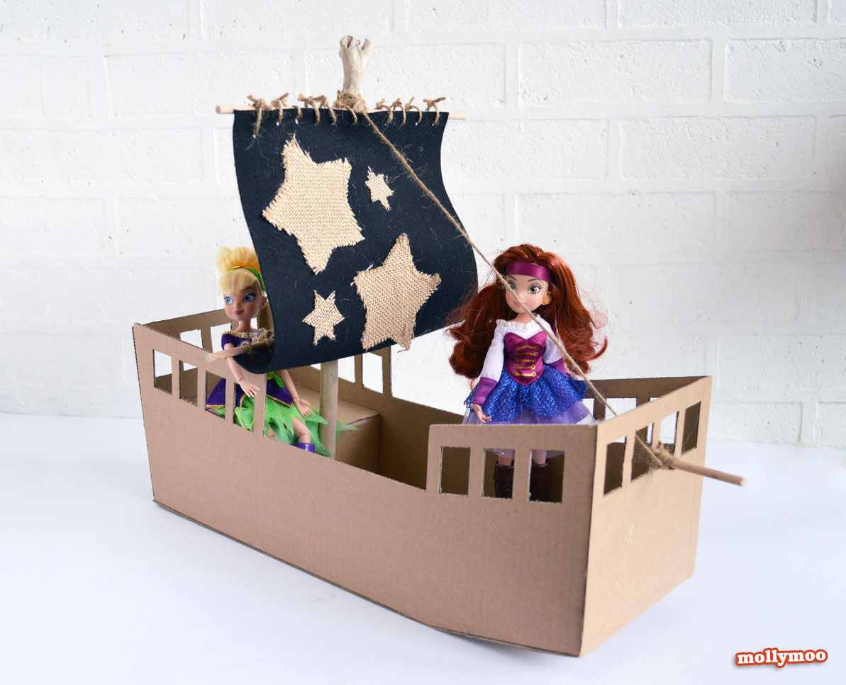DIY Cardboard Pirate Ship - craft tutorial | Piratas, Barco pirata ...