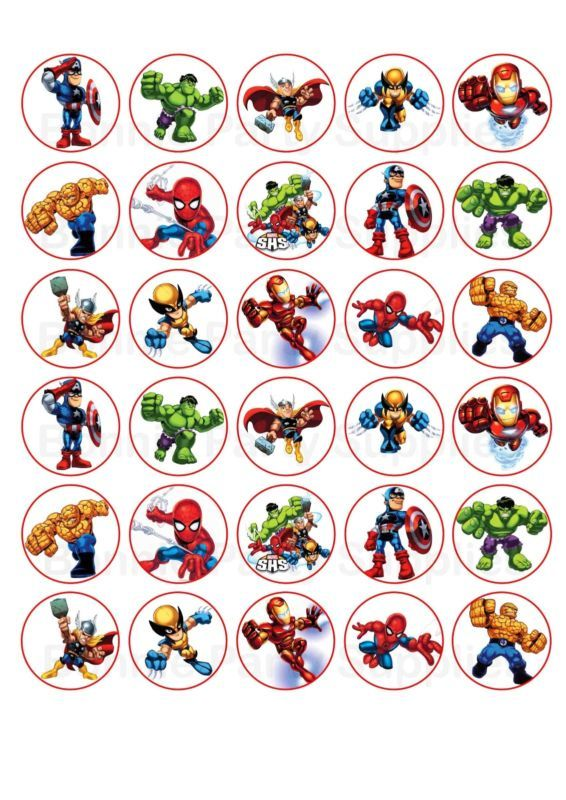 Details about 30 Super Hero Squad Edible Paper Cupcake Cup ...