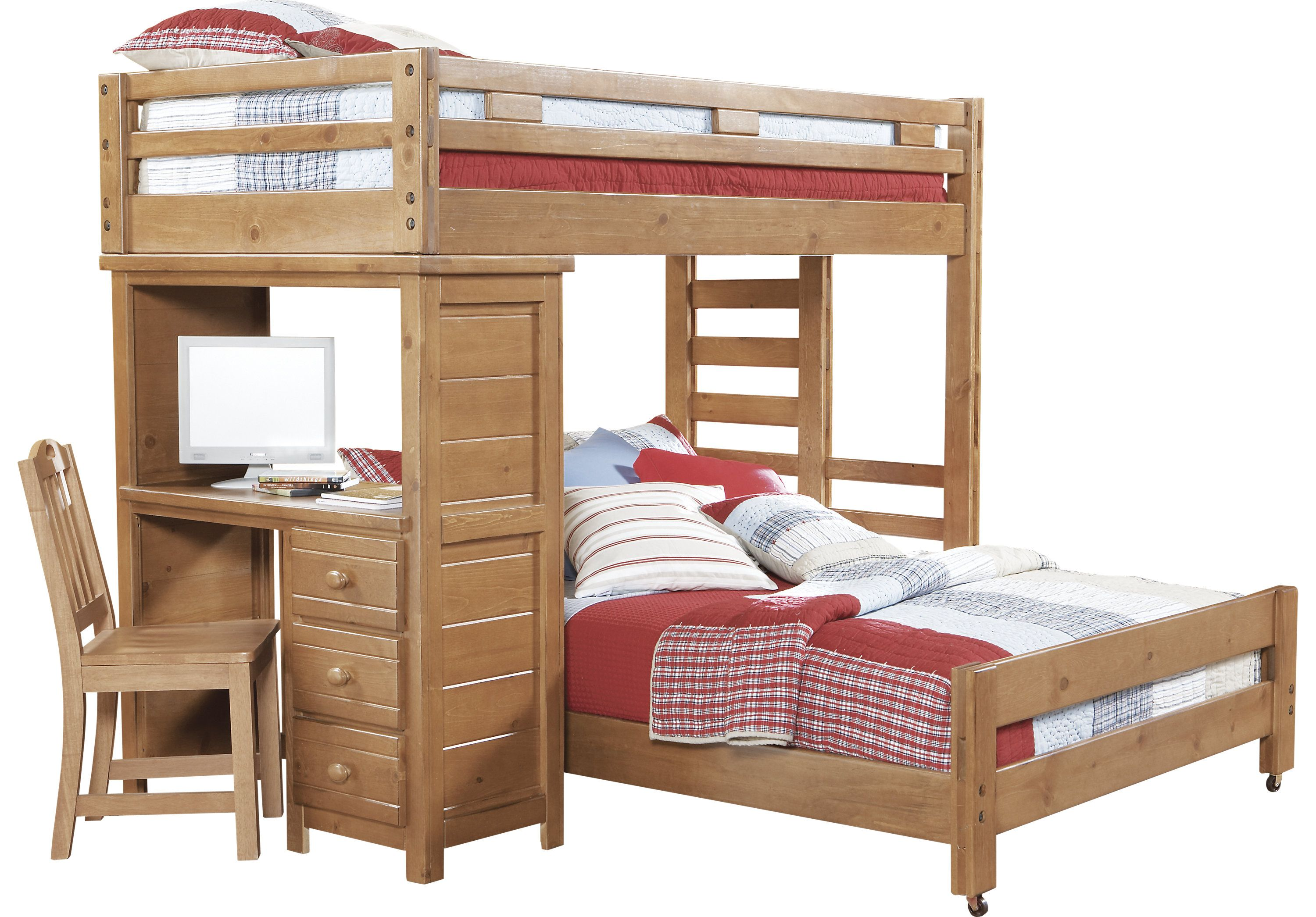 Creekside Taffy Twin Full Student Loft Bed with Desk