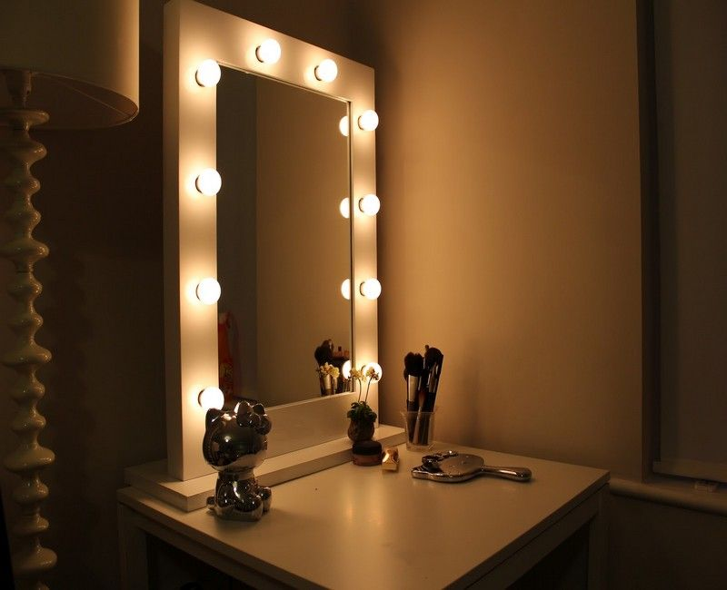 bedroom vanity with mirror and lights | corepad