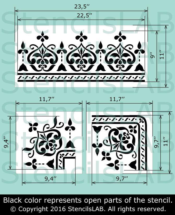 Esquina de la plantilla Reutilizable plantilla 022 Para Pared bricolaje decoración