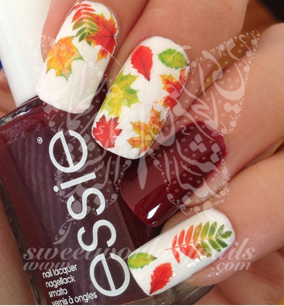 Autumn Nail Art Fall Autumn Leaves Nail Water Decals Water Slides ...