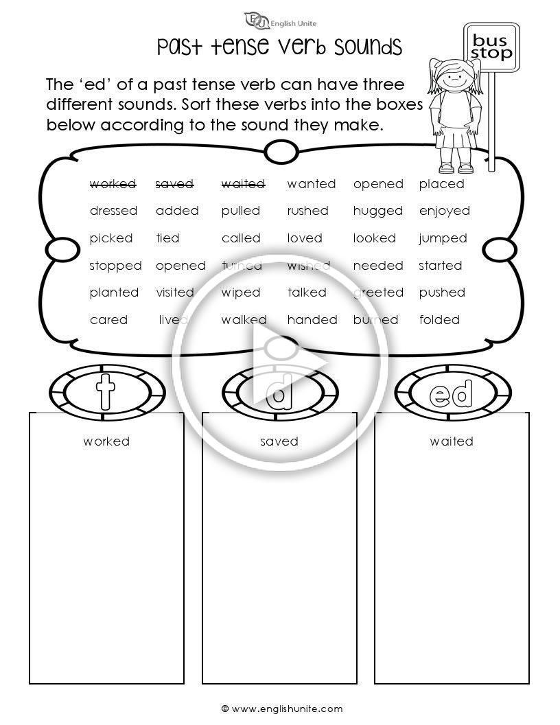 Past Tense Verb Sounds Worksheet The Ed Of A Past Tense Verb Can Have 3 Differ Past Tense Verb Tenses [ 1056 x 816 Pixel ]