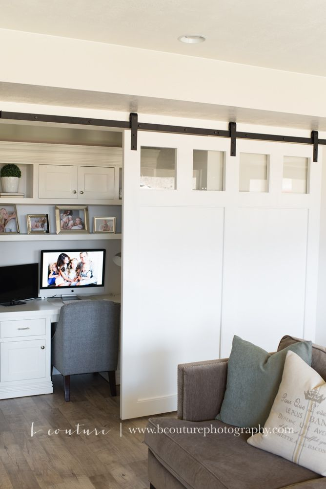 Sliding Barn Door And Desk Nook Built In White Desk And