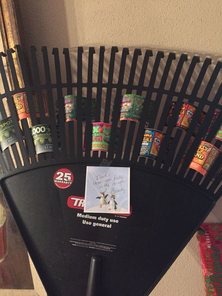 Quick Easy Christmas Gift Rake With Lottery Tickets In