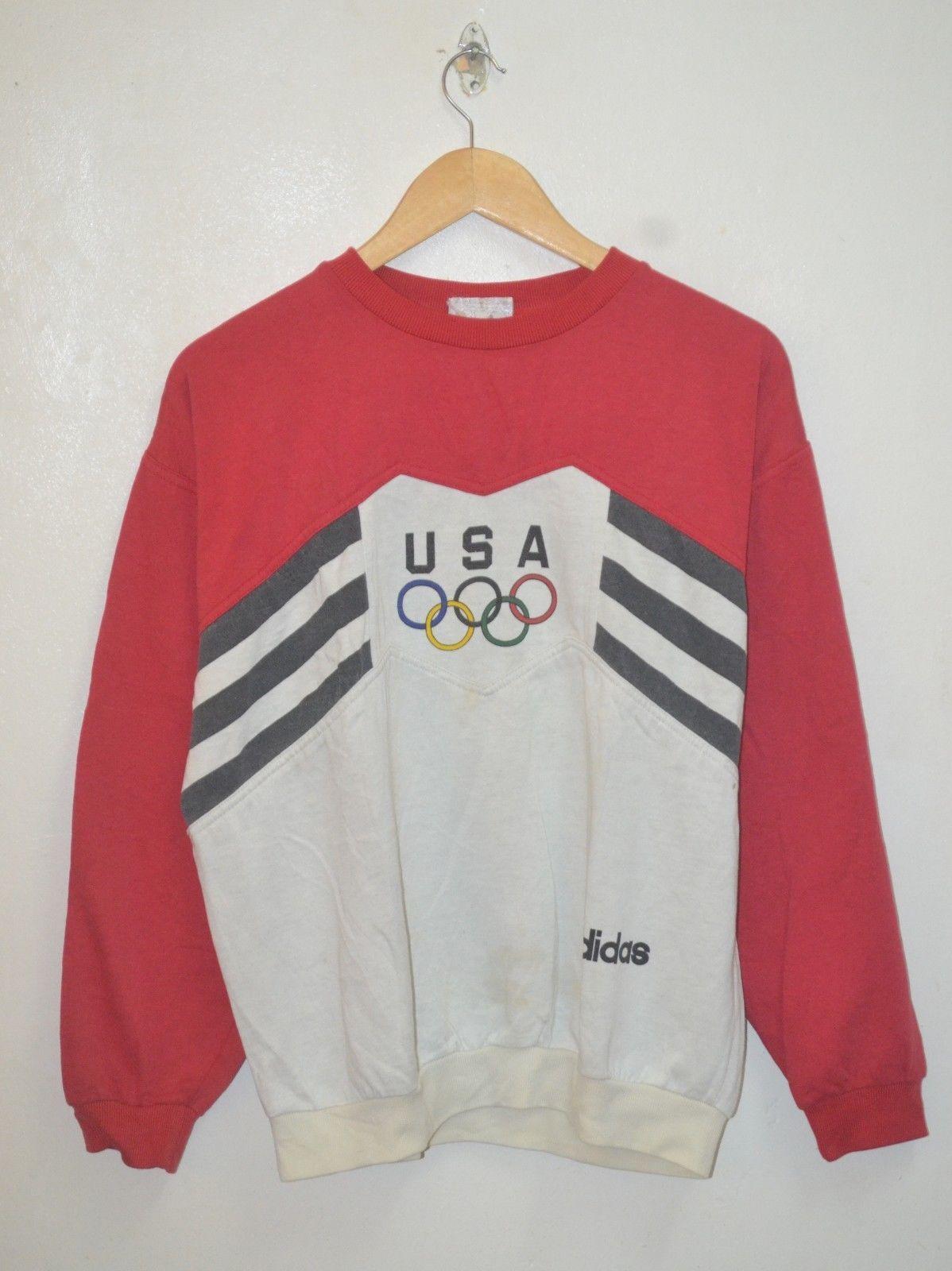 VINTAGE RARE ADIDAS TREFOIL 80s 90s RUN DMC OLYMPIC SWEATSHIRT