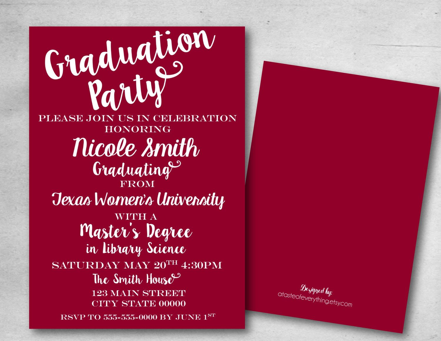 Graduation Party Invitation Save The Date College Masters