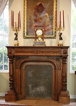 French Antique Carved Oak Fireplace Mantel With Screen Victorian
