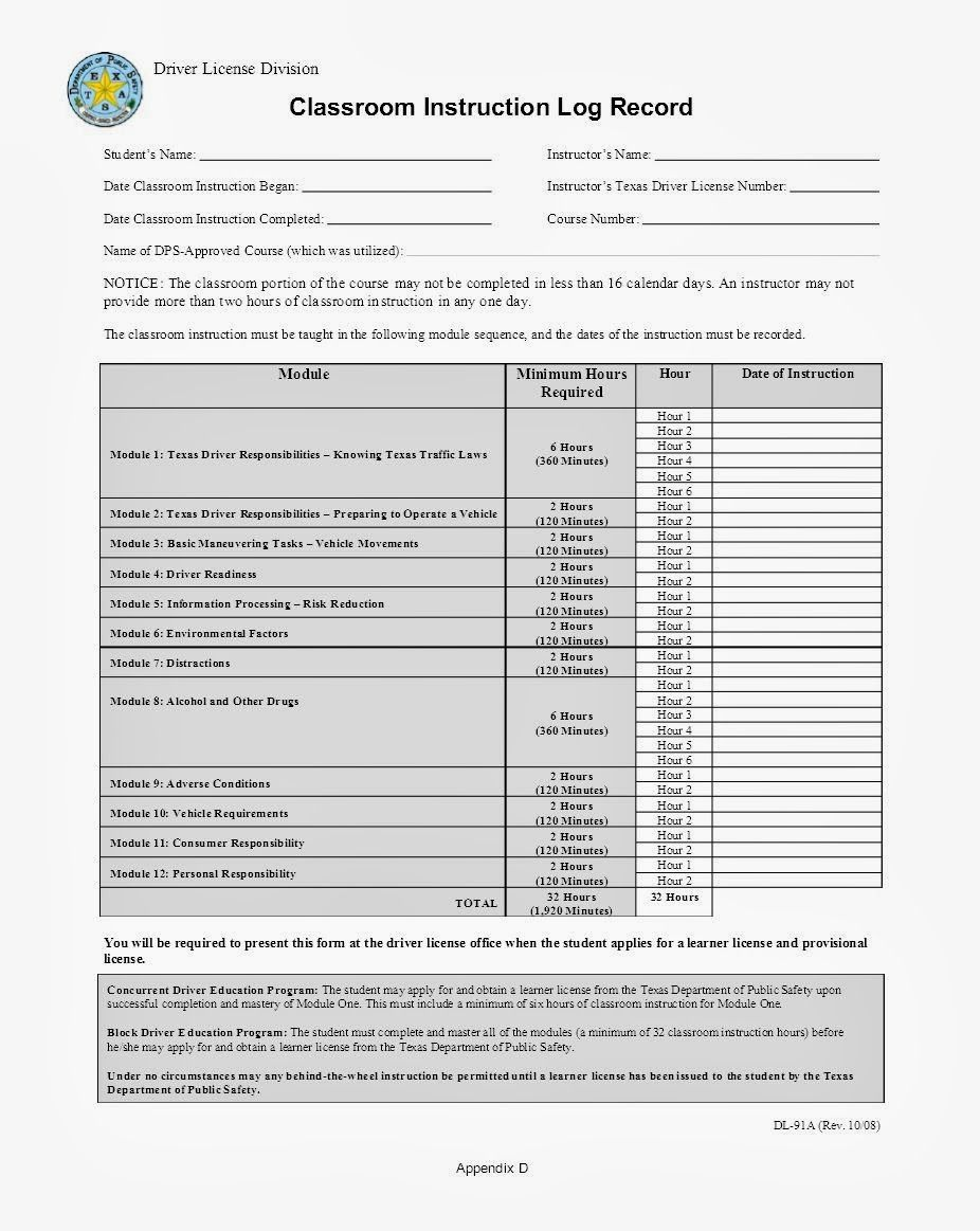 Dl 91a printable form classroom instruction log record barn home dl 91a printable form classroom instruction log record falaconquin