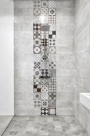salle-de-bain-carreau-ciment Salle de bain moderne Pinterest