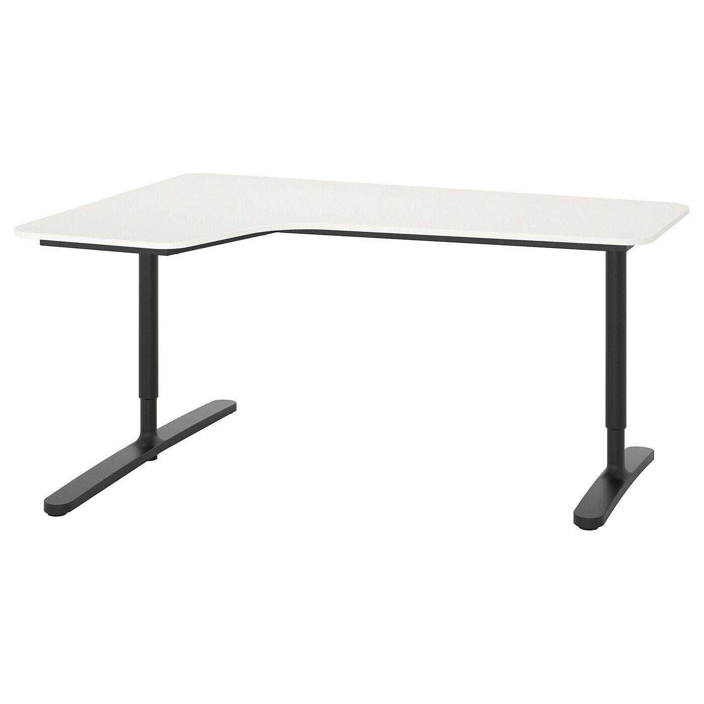 Bekant Corner Desk Left White Black Ikea In 2020 Ikea Bekant Ikea Black Corner Desk