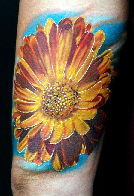calendula flower tattoo those white lines make the entire tattoo pop amazing inspired by. Black Bedroom Furniture Sets. Home Design Ideas